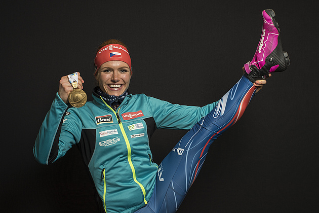 Gabriela Koukalova got the first gold medal in World Championship